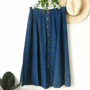 80-90s Vintage Button Down Denim Jean Midi Skirt